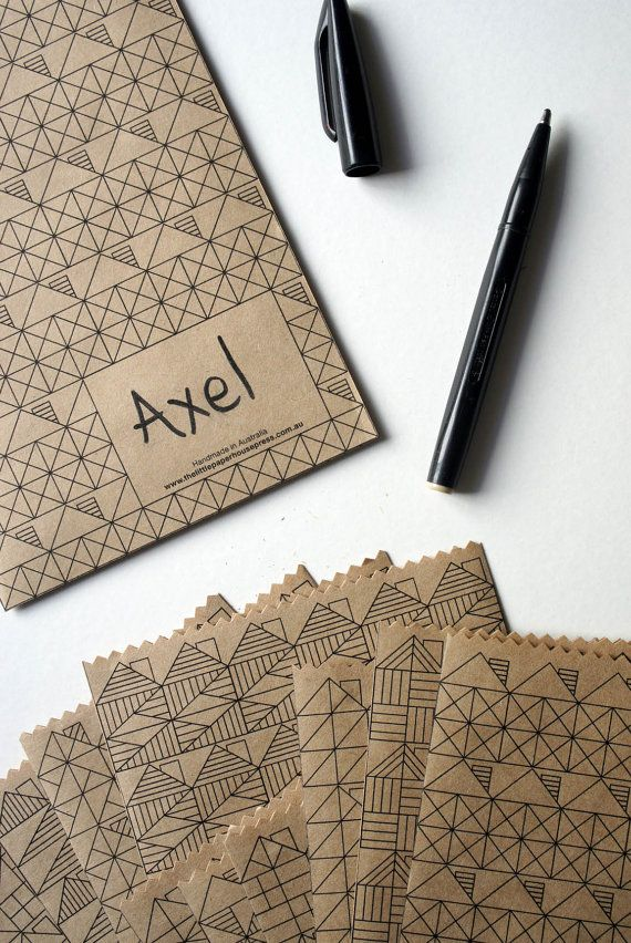 All purpose SMALL brown paper bags with geometrical by LPHP, pattern added to manila put envelopes?? Use bubble pattern??