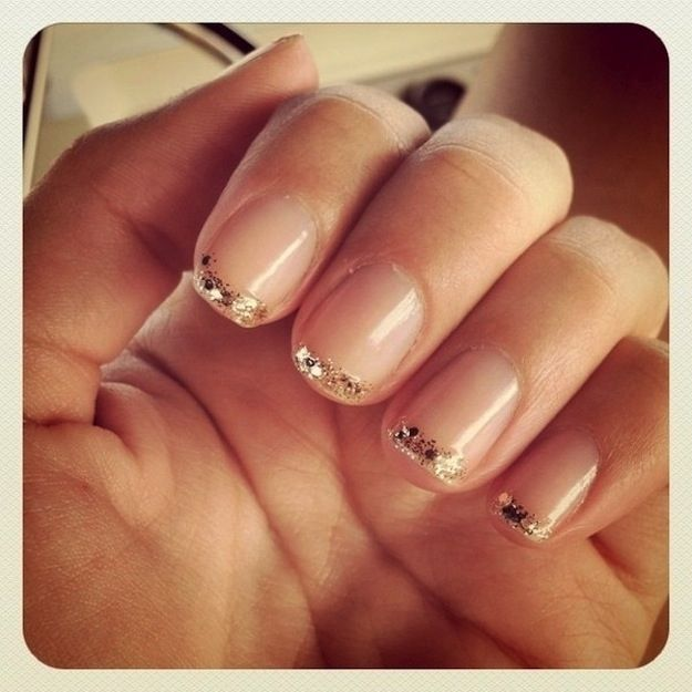 Glitter French Tips | 24 Delightfully Cool Ideas For Wedding Nails.