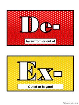 FREEBIE: Affix Word Wall- 18 Prefixes & 16 Suffixes- Dots dots dots! image 3