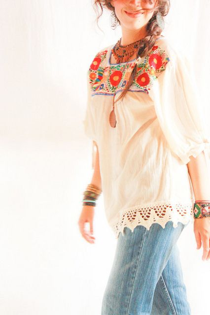 Los Pajaritos Mexicanos 3/4 sleeve embroidered ethnic blouse | Flickr - Photo Sharing!