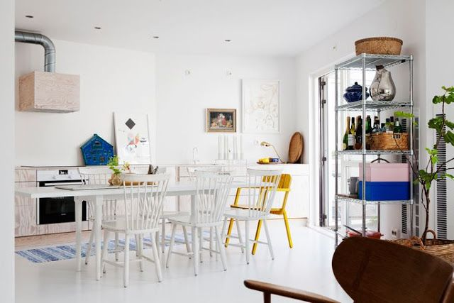 A bang on trend malmö home - how lovely and airy!  Love the little punches of colour.