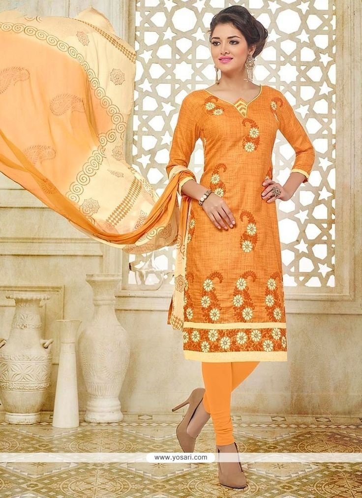Sightly Orange Churidar Suit Model: YOS8496