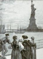 Immigrants looking at the Statue of Liberty