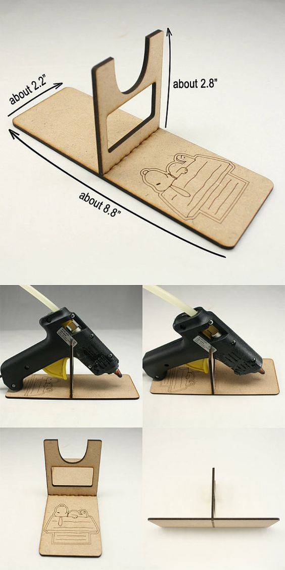 1 Piece Hot Glue Gun Holder Glue Gun Stand Wooden Glue by annielov