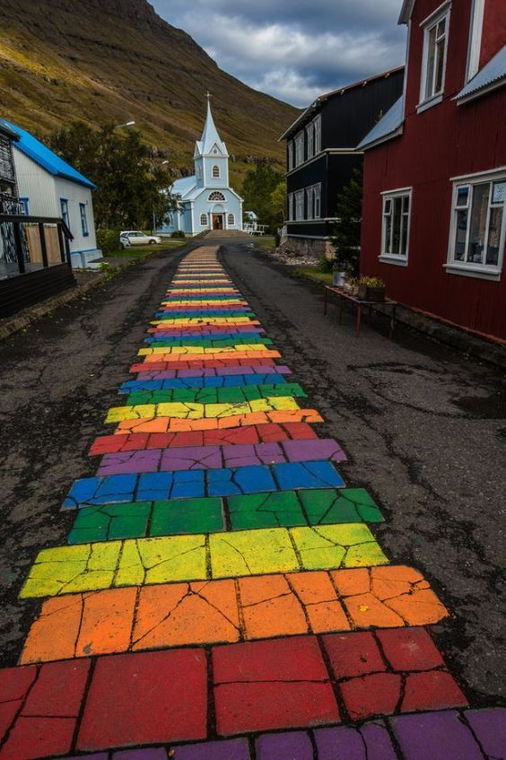 In Seydisfjordur, Iceland. The Vikings know church doesn't have to equate the beige life.
