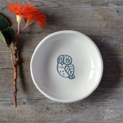 Bush Prints Collection ~ boobook porcelain bowl    A collaboration between artist Renée Treml and Kim Wallace Ceramics ~ Handmade Australian Ceramics