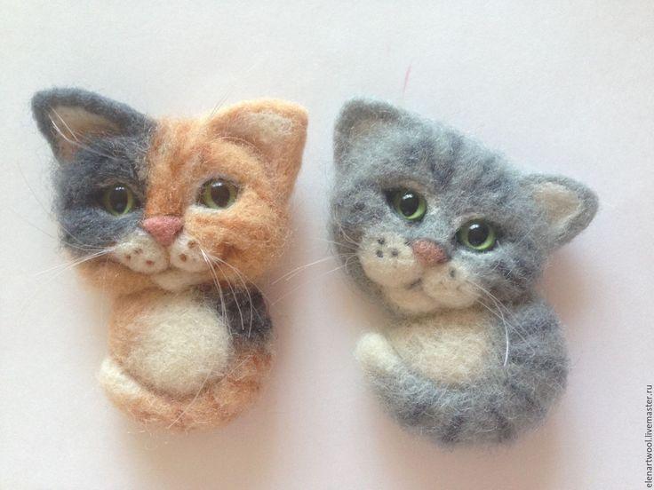 Купить Брошки котята - серый, брошь ручной работы, валяная брошь, брошь из шерсти, кошка
