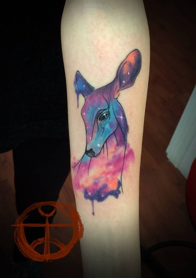 watercolour tattoo | maybe not the deer, but some animal silhouette with the galaxy sky in the background