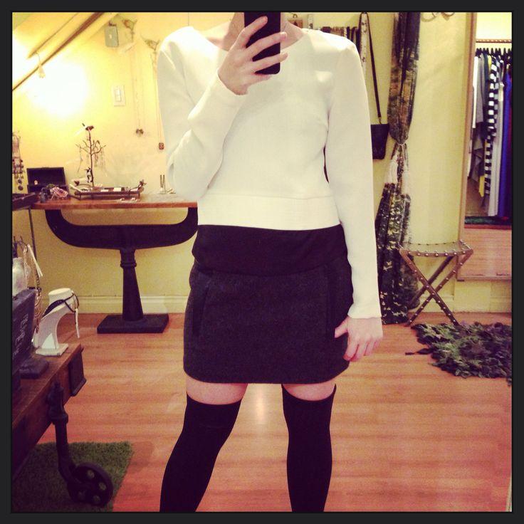 FauX leather trim wool miniskirt