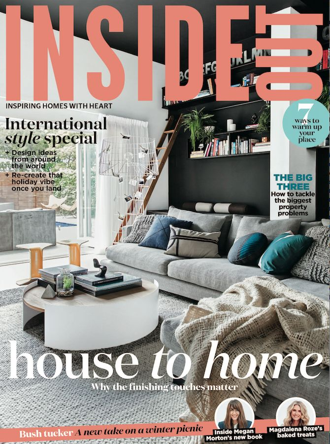 The cover of the June 2017 issue of Inside Out magazine. Photography by Anastasia Kariofyllidis. Styling by Hayley Jenkins.  Available from newsagents, Zinio, https://au.zinio.com/magazine/Inside-Out-/pr-500646627/cat-cat1680012#/  and Nook.