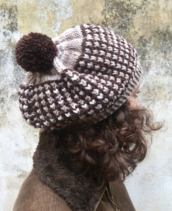 Hand Knitted Women Hat in Brown and by Need4KnitShop