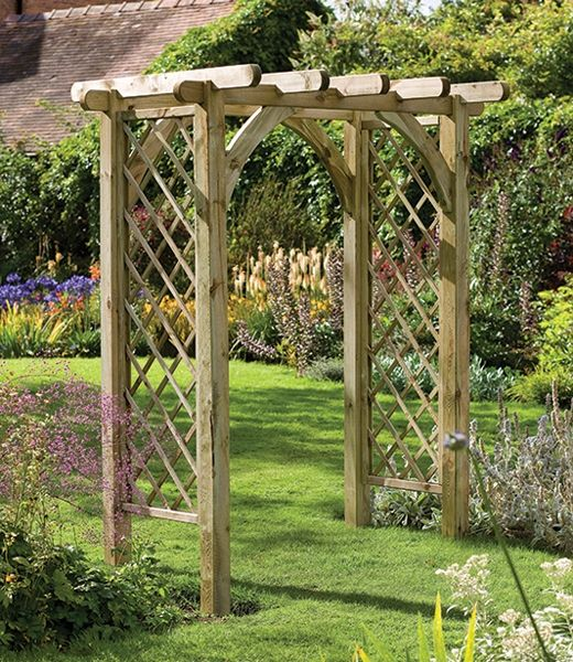 Ultima Pergola Arch (Forest Garden Products). Rather discordant as the rounded parts jar with the trellis. I'd like to see diagonally cut rafters and straight trusses.
