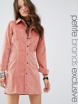 Glamorous Petite Pink Corduroy Button Front Dress  #fashion #style  #women