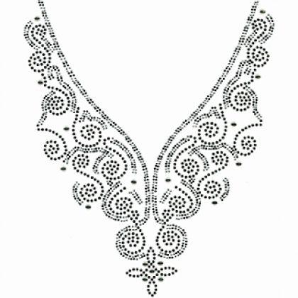 9x12  - SWIRL NECKLACE (RHINESTONE/RHINESTUD) - neck treatment, necklace, rhinestones, rhinestuds, Necklines, Material Transfer, Necklines