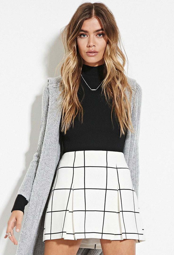 Pleated Grid Print Mini Skirt - Clothing - 2000178675 - Forever 21 UK
