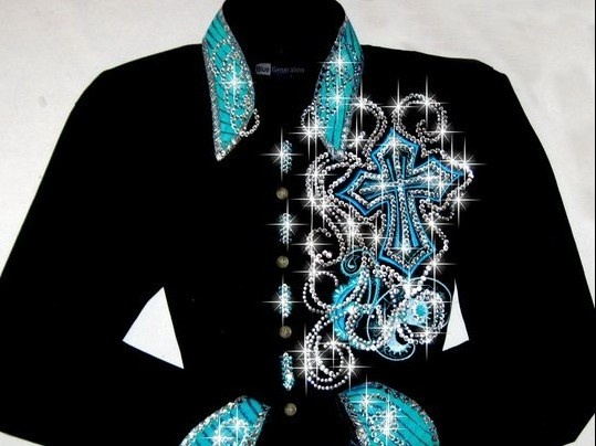 Just Fly Designs Bling Turquoise Cross Rodeo Queen Shirt