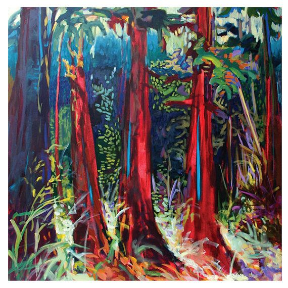 Fine art card Red Woods Trees Blank with by jenniferharwood