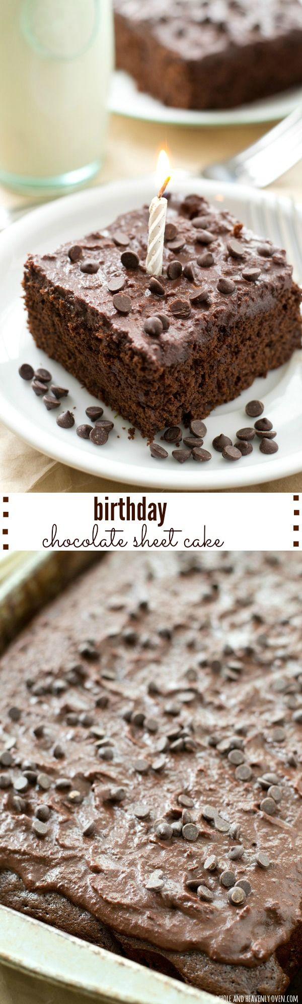This super-moist classic chocolate sheet cake is always a hit at birthday parties! Simple to make and even more fun to eat, it's definitely a winner. @WholeHeavenly