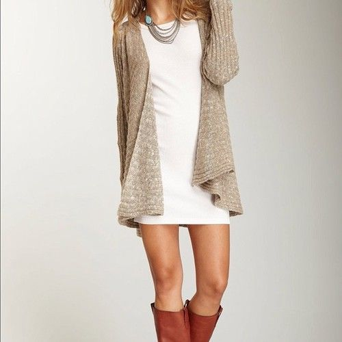 boots, dress and cardigan