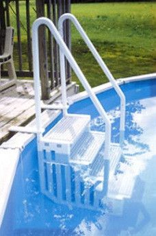 """- Fits pool deck up to 58"""" - 27"""" Wide comfort treads with non-skid step surfaces - Corrosion free construction - Easy to climb steps with dual handrails for added stability - Designed for easy entry a"""