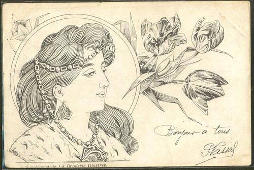 GP147 Art Nouveau Tête de Femme de Profil Bijoux Head Ornaments Illustrateur | eBay