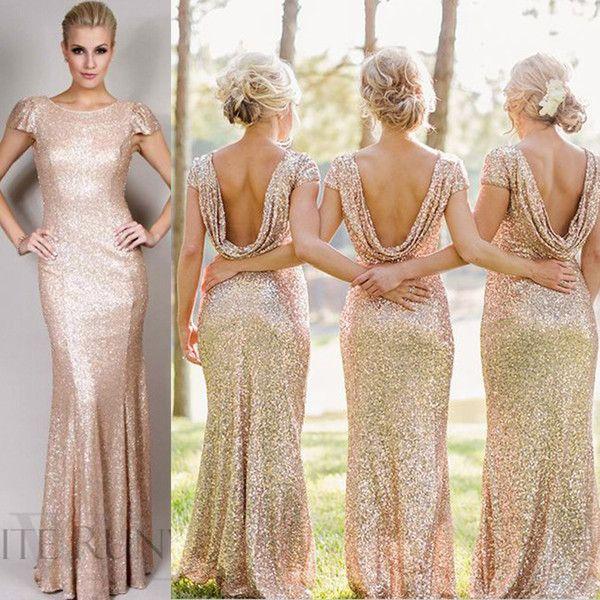 Sequins Rose Gold Long Bridesmaid Dresses Plus Size Split
