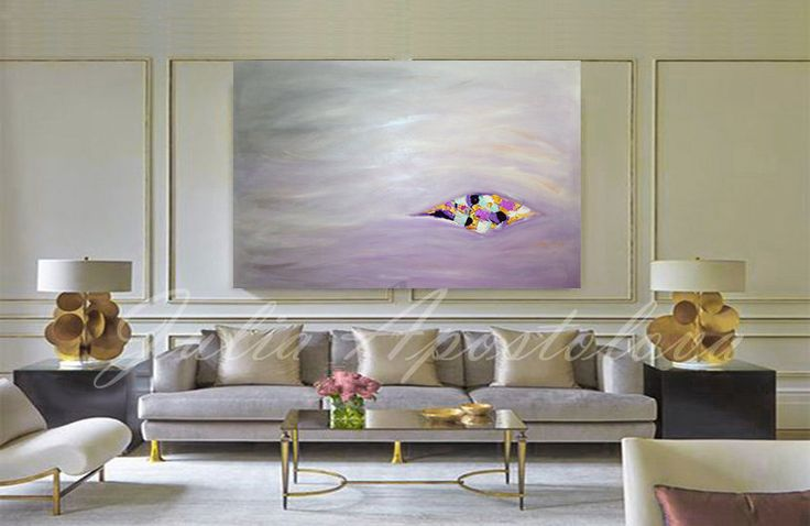 56inch Huge Original Painting Minimal Wall Art by JuliaApostolova