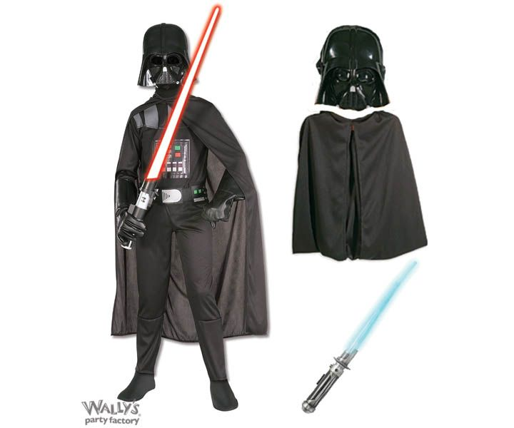 Darth Vader Boy's Costume The Dark Vader Boy's Costume comes with the black jumpsuit with Vader's life support armor printed, with belt, and cape. The costume is completed with the iconic Vader mask and light saber for maximum darkside power. #darkvader #costume #halloween