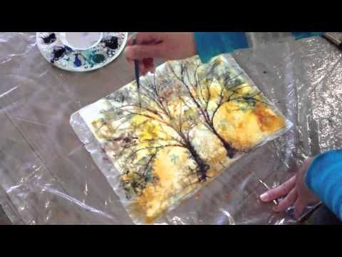 How to: Batik Style watercolor painting technique with Kozo Washi - YouTube