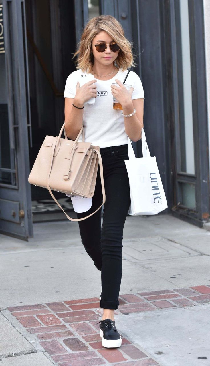 Sarah Hyland Leaving A Salon In West Hollywood - September 14, 2016. She's so pretty, her hair is goals and her clothing looks so cute and casual here