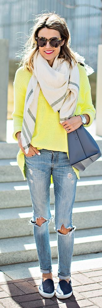 Neon Sweater With Bright Scarf And Distressed Skinny Jeans, Navy Slip Flats And Royal Handbag by Hello Fashion