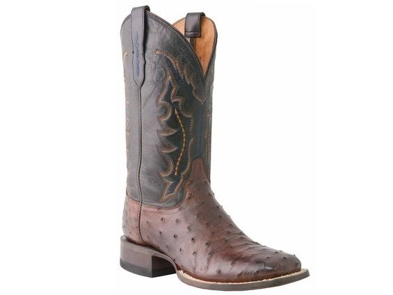 Shop New Lucchese M1611.TWF Hogan Mens Full Quill Ostrich and Ranch Hand Leather Western Cowboy Boots in Sienna and Black.  Free Shipping | Harrison Avenue