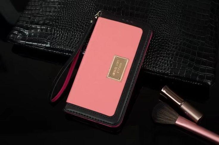 マイケルコースMK配色iPhone7s/6plusケース手帳型ストラップ付きアイフォン7/6sカード収納携帯カバーシンプル財布