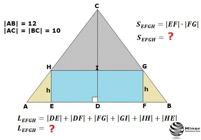 W trójkąt równoramienny ABC, którego ramiona AC, BC są równe 10, a podstawa AB równa się 12, wpisano prostokąt EFGH w ten sposób, że dwa jego wierzchołki E, F leżą na podstawie, a pozostałe dwa G, H leżą na ramionach trójkąta. Wyznacz obwód L i pole S prostokąta EFGH jako funkcję jego wysokości h.