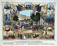 1870 celebration of the Fifteenth Amendment as a guarantee of African American voting rights.