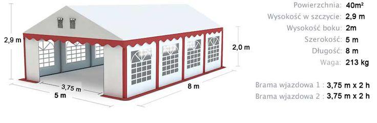 Namiot Handlowy Imprezowy 5m x 8m (40m²) całoroczny STANDARD MAX / Commercial Tent 5x8 Winter