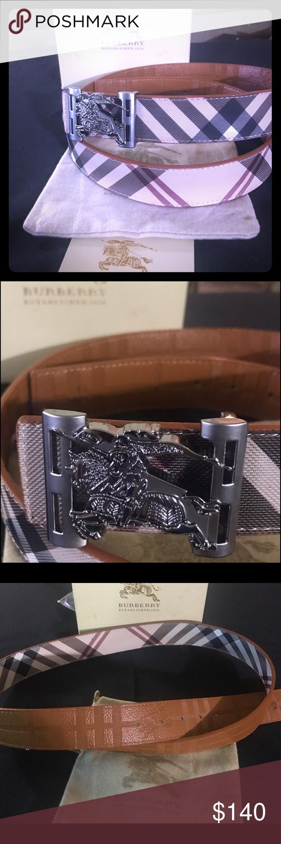 Burberry belt New Burberry reversible belt comes with box and dust bag. Burberry Signature Check and cognac color inside. Burberry Accessories Belts