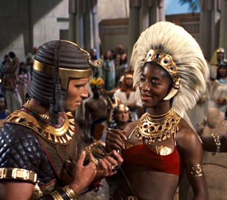 Esther Brown as Princess Tharbis of Ethopia presents Moses with a green stone. Movie commentary suggests she will become his 2nd wife according to Numbers chapter 12-He married a Cushite woman