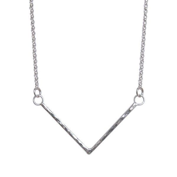 Sterling Silver Hammered Chevron Necklace by Strut Jewellery Ottawa, Canada. Sterling silver chevron pendant necklace. Handmade using thick gauge sterling silve