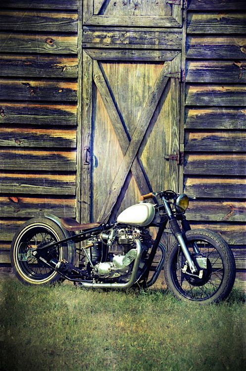 Harley Davidson Shovelhead and door.