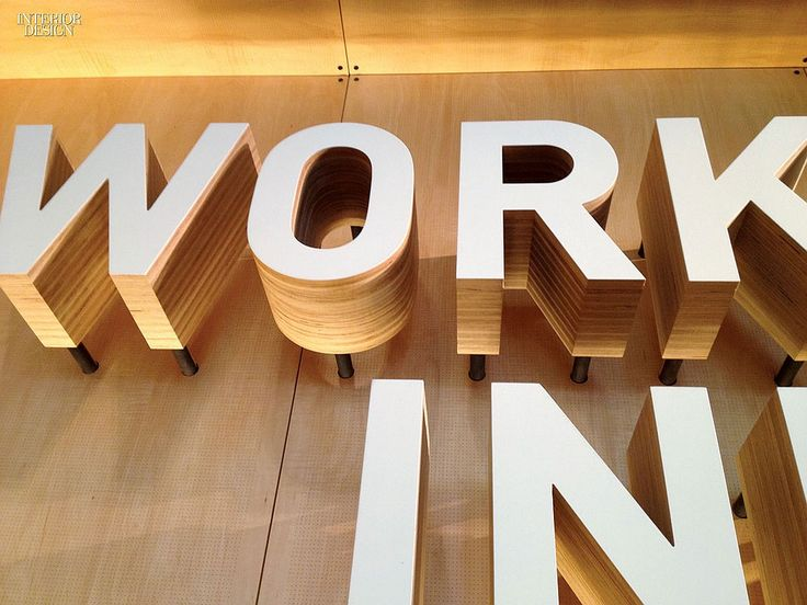 Laminated Plywood letters.  Gateway to the Gates Foundation: Visitor Center by Olson Kundig