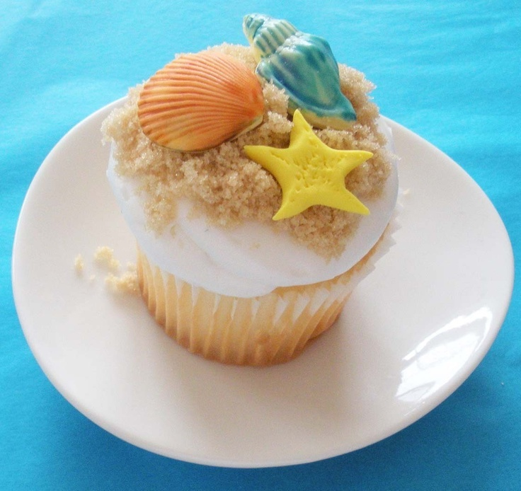 Beach Sea Shells and Starfish 3D Fondant Cupcake Toppers for Luaus and Beach Theme Parties. $24.00, via Etsy.