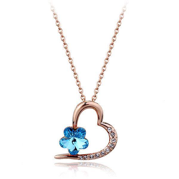 Italina мода ювелирные изделия персик австрия кристалл кулон ожерелье, форме сердца с цветочные украшения