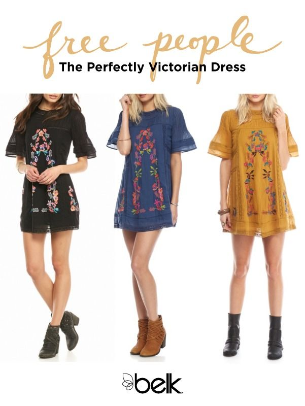 Free People's Perfectly Victorian dress is available in three colors for spring. Gorgeous floral embroidery and crochet trim give this sweet mini dress effortless boho-chic style, while a high neck and elbow-length sleeves add a touch of Victorian inspiration. This is the perfect summer dress for music festivals, nights out and more. Pair it with booties or gladiator sandals for a trend-right look from head to toe. Shop the Perfectly Victorian dress in store or at Belk.com.