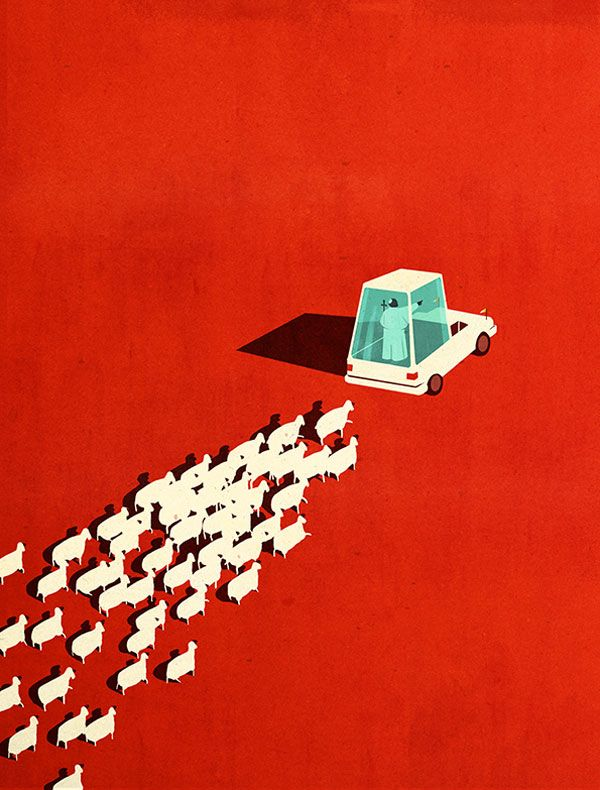 The New Pope - Editorial Illustration by Emiliano Ponzi