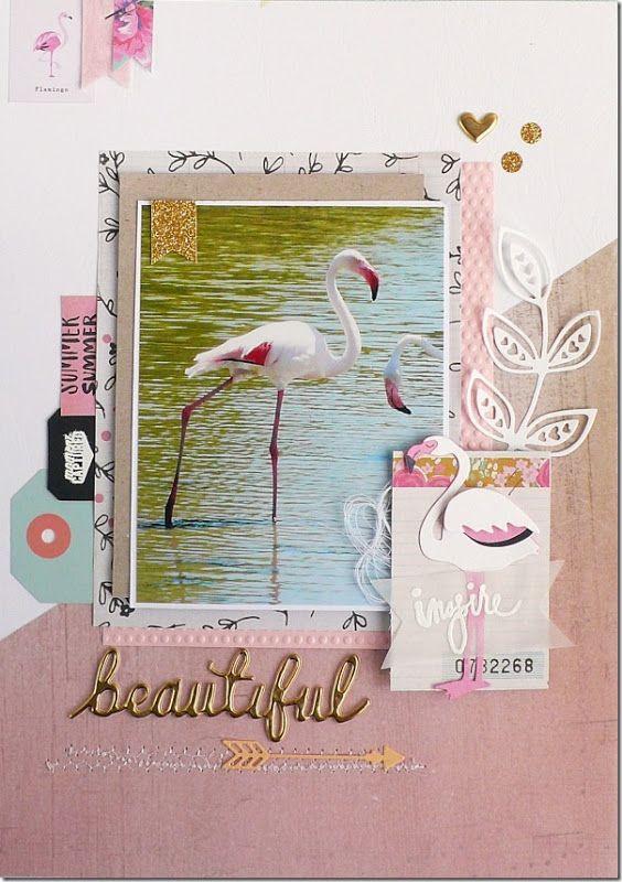 scrapbook layout, scrapbboking, summer, flamingo, sizzix dies, crate paper