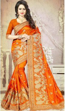 Orange Color Silk Embroidery Party Saree | FH586486344 Sale up to 19% off end in 31 July Hurry Follow us @Heenastyle