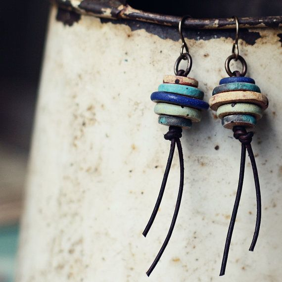 Machu Picchu rustic ceramic earrings by kylieparry on Etsy
