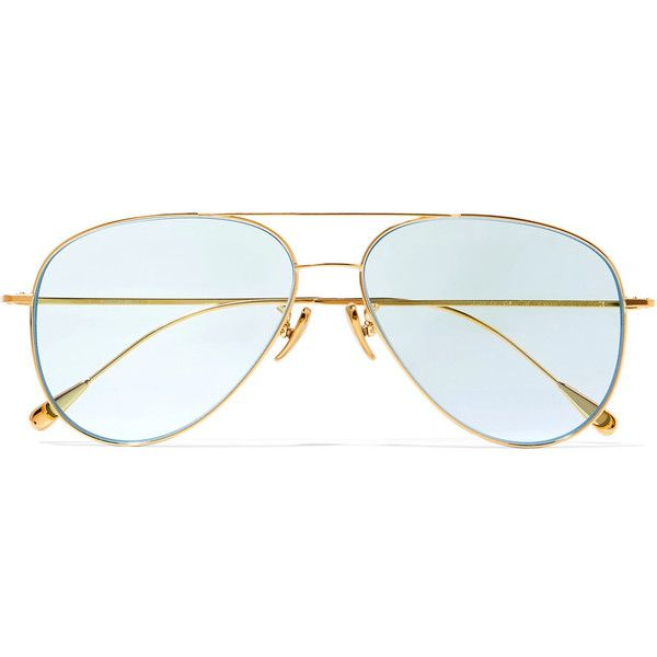 Cutler and GrossAviator-style Gold-tone Sunglasses ($625) ❤ liked on Polyvore featuring accessories, eyewear, sunglasses, gold, cutler and gross glasses, gold aviator sunglasses, gold colored glasses, tinted sunglasses and gold aviators