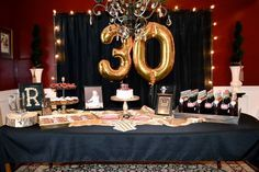 Masculine decor for surprise party, men's 30th birthday                                                                                                                                                                                 More